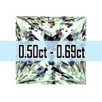 Princess Cut Diamonds - 0.50ct - 0.69ct