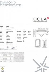 Emerald Cut Diamond 0.39ct - F VVS2