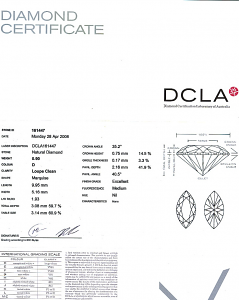 Marquise Cut Diamond 0.90ct - D IF