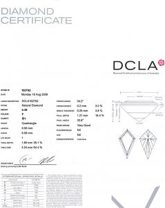 Kite Shape Diamond 0.38ct - F SI1