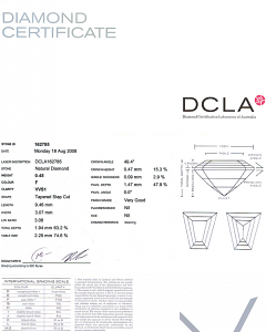 Tapered Baguette Diamond 0.45ct - F VVS1