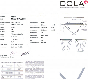 Tapered Baguette Diamond 0.56ct - D VS1