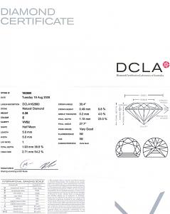 Half Moon Shape Diamond 0.28ct - E VVS2