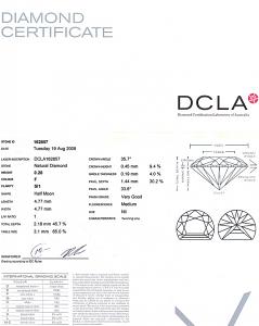 Half Moon Shape Diamond 0.28ct - F SI1