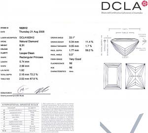 Baguillion Cut Diamond 0.31ct - D IF