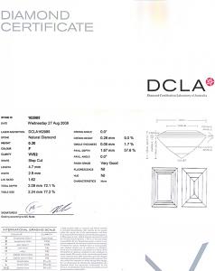 Baguette Cut Diamond 0.30ct - F VVS2