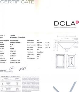 Baguette Cut Diamond 0.29ct - G VVS2