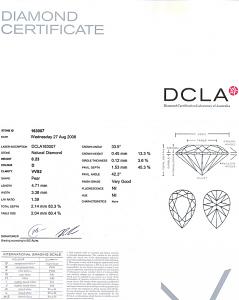 Pear Shape Diamond 0.23ct - D VVS2