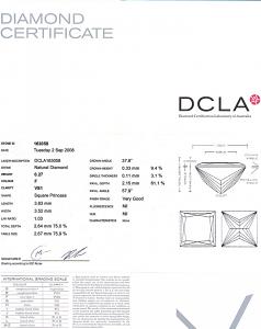 Princess Cut Diamond 0.27ct - F VS1