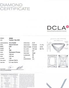 Baguillion Cut Diamond 0.22ct - E VS2