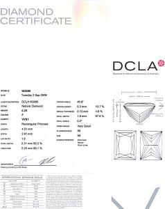 Baguillion Cut Diamond 0.25ct - F VVS1