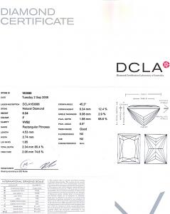 Baguillion Cut Diamond 0.24ct - F VVS2