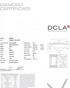 Baguette Cut Diamond 0.25ct - G VVS2