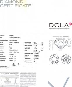Round Brilliant Cut Diamond 0.73ct - F VS1