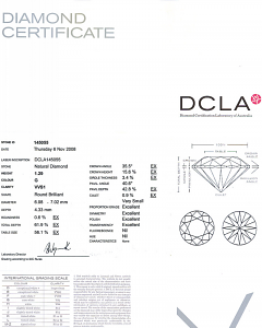 Round Brilliant Cut Diamond 1.29ct - G VVS1