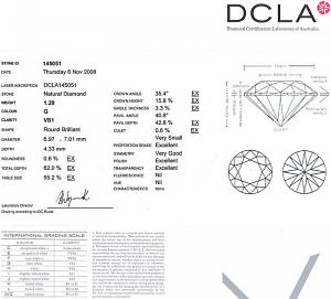 Round Brilliant Cut Diamond 1.29ct - G VS1