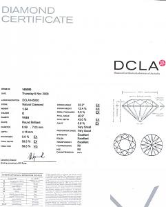 Round Brilliant Cut Diamond 1.24ct - E VVS1