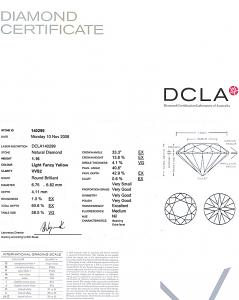 Round Briliant Cut Diamond 1.16ct - Fancy Light Yellow VVS2
