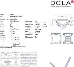Princess Cut Diamond 0.41ct - E VVS1