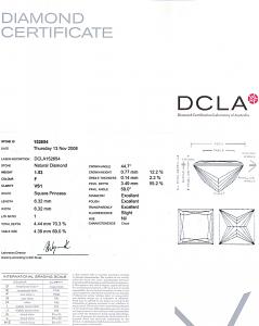 Princess Cut Diamond 1.53ct - F VS1