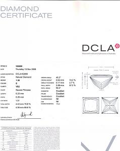 Princess Cut Diamond 1.50ct - E VS2