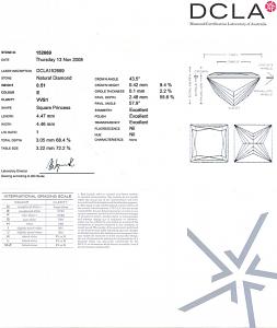 Princess Cut Diamond 0.51ct - E VVS1