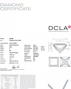 Princess Cut Diamond 2.03ct - F SI1