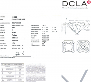 Radiant Cut Diamond 0.92ct - F VVS1