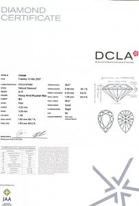 Pear Shape Diamond 0.17ct - Fancy Vivid Purplish Red SI1