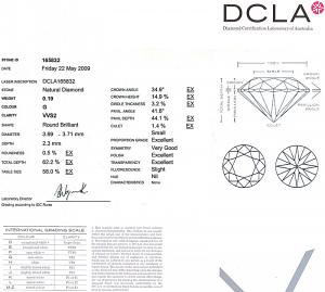 Round Brilliant Cut Diamond 0.19ct - G VVS2