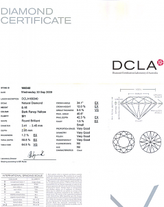 Round Brilliant Cut Diamond 0.15ct - Dark Fancy Yellow SI1
