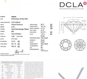 Round Brilliant Cut Diamond 0.15ct - Vivid Fancy Orange Yellow SI2