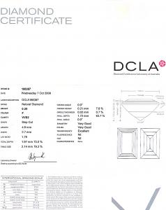 Baguette Cut Diamond 0.25ct - F VVS2