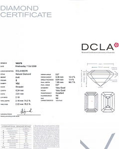 Emerald Cut Diamond 0.41ct - E VS2