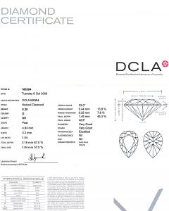 Pear Shape Diamond 0.20ct - D SI1