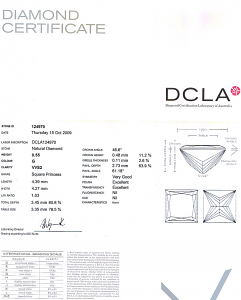Princess Cut Diamond 0.55ct - G VVS2