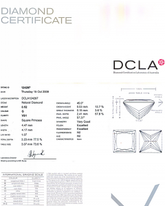 Princess Cut Diamond 0.52ct - G VS1