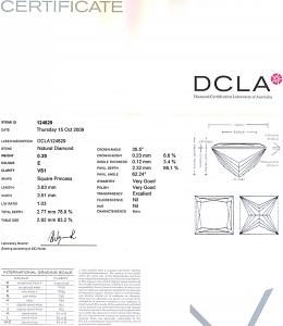 Princess Cut diamond 0.29ct - E VS1