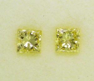 Fancy Yellow Princess Cut Diamond Pair  0.37ct - Fancy Yellow