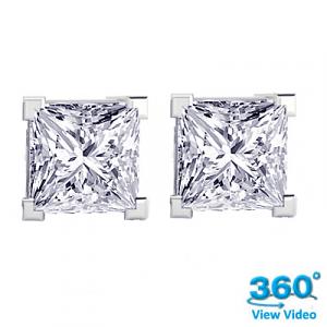 4 Claw Princess Diamond Stud Earrings Total 0.95 cts F VS – Certified