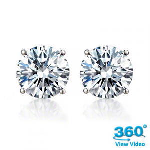 4 Claw Round Diamond Stud Earrings Total 1.03ct E SI2 - Certified