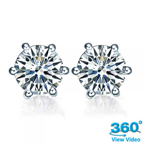 6 Claw Round Diamond Stud Earrings Total 1.07cts - F SI - Certified