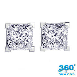 4 Claw Princess Diamond Stud Earrings Total 1.06 cts F SI1 – Certified