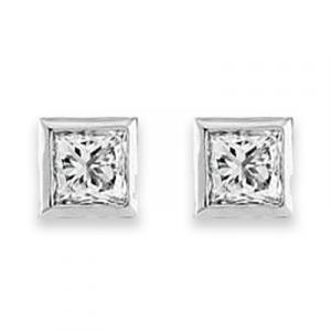 Princess Diamond Earrings - 0.59 carats total F VS