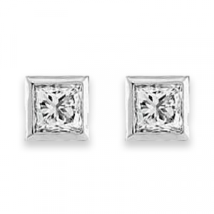 Princess Diamond Earrings - 0.71 carats total F VS