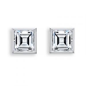 Diamond Ear Studs Square - 0.35 carats total F VS