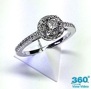 'Halo' Diamond Engagement Ring - 0.76cts