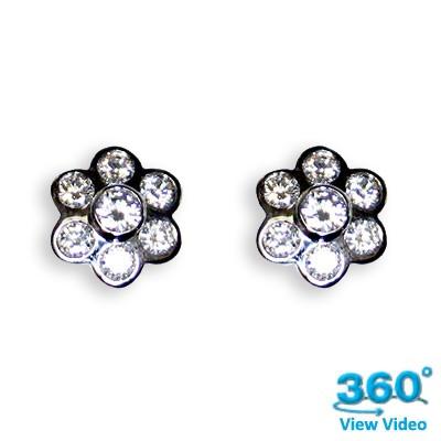 Flower Diamond Earrings - 1.50 carats total