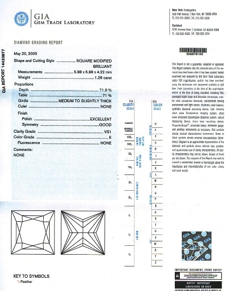 Princess Cut Diamond PRI 139 1.26ct
