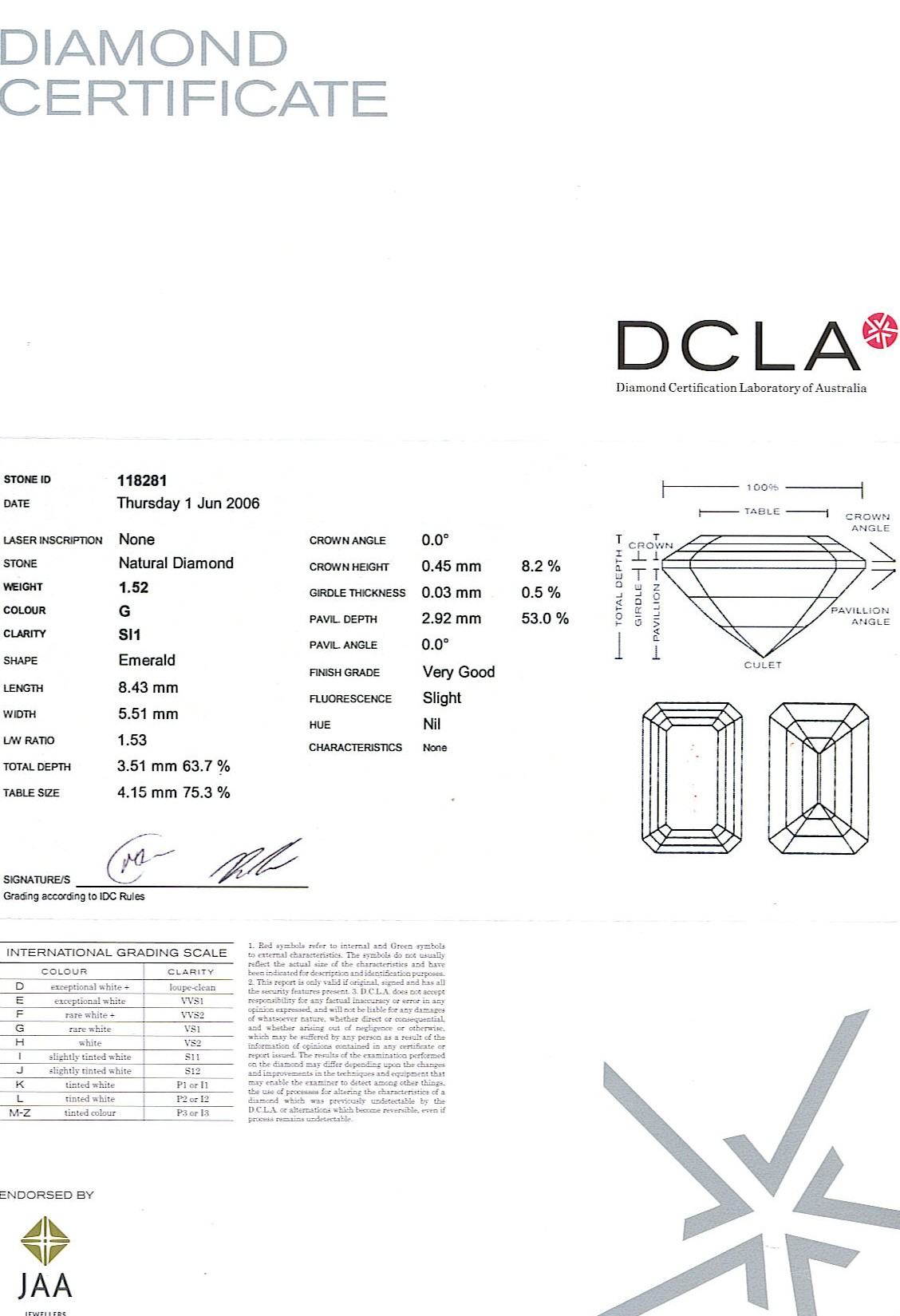 Emerald Cut Diamond 1.52ct - G SI1 - A 105